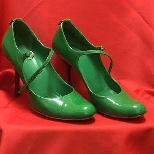 Gucci green pumps with ankle strap